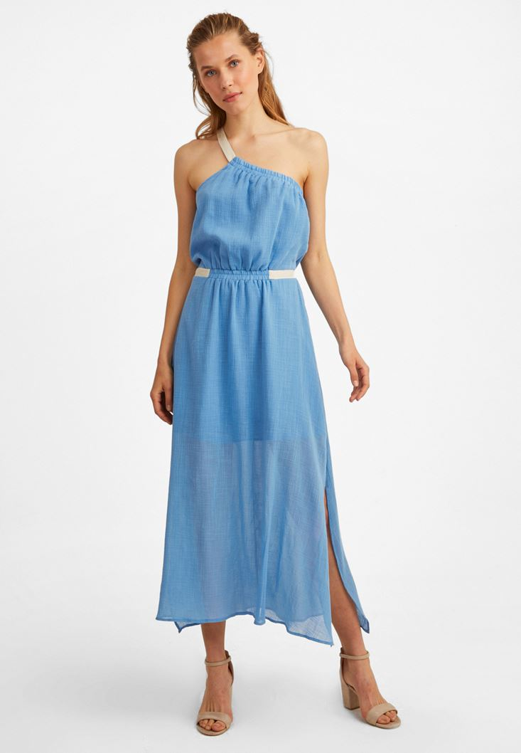 Blue One-Shoulder Maxi Dress