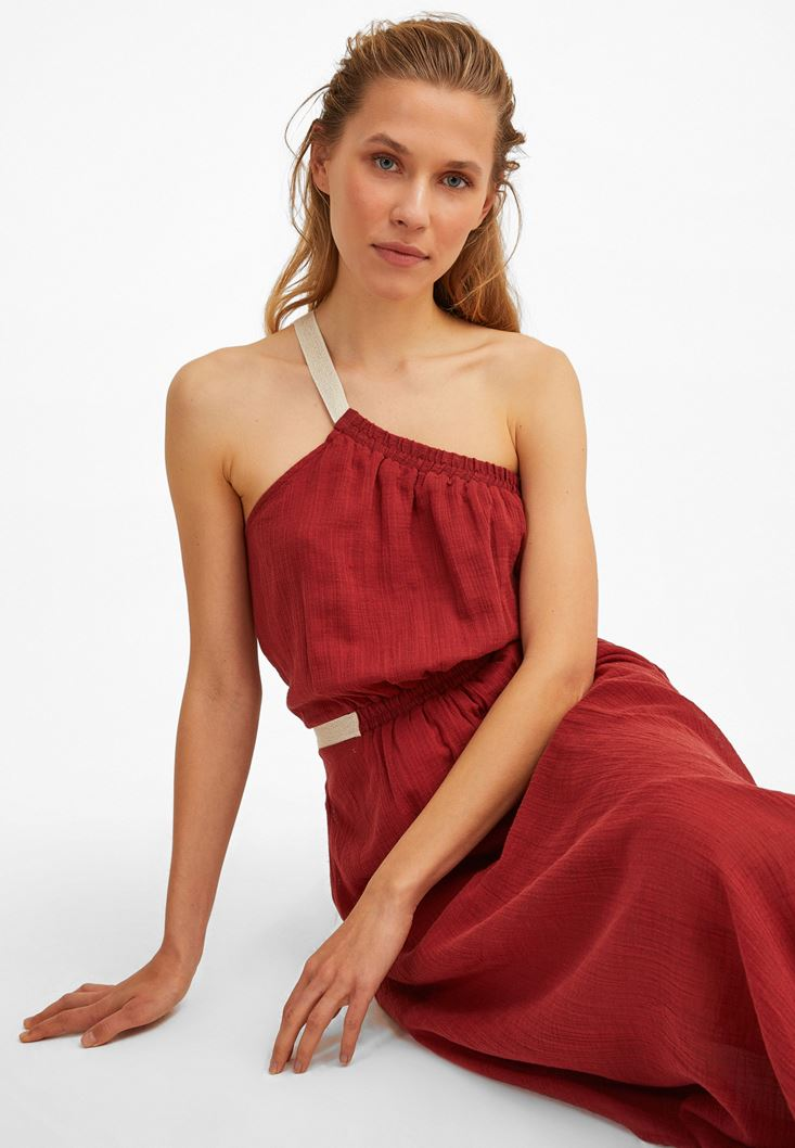 Bordeaux One-Shoulder Maxi Dress