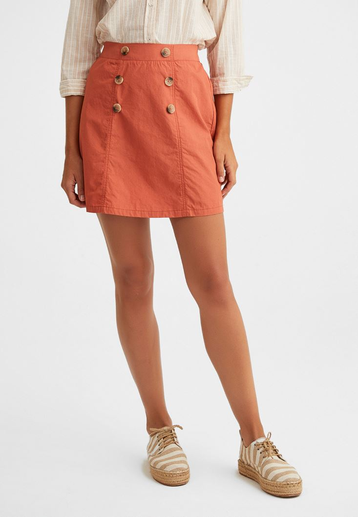 Orange Chino Skirt with Button Details