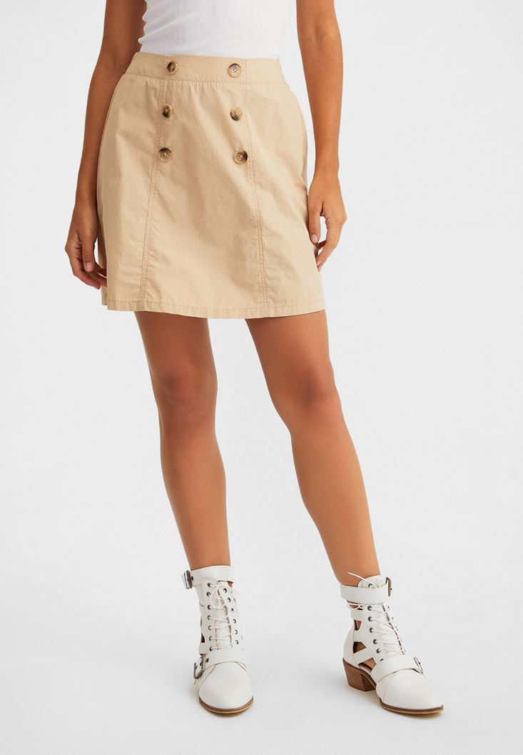 Cream Chino Skirt with Button Details
