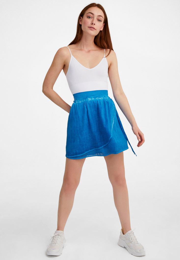 Blue Elastic Waisted Mini Skirt