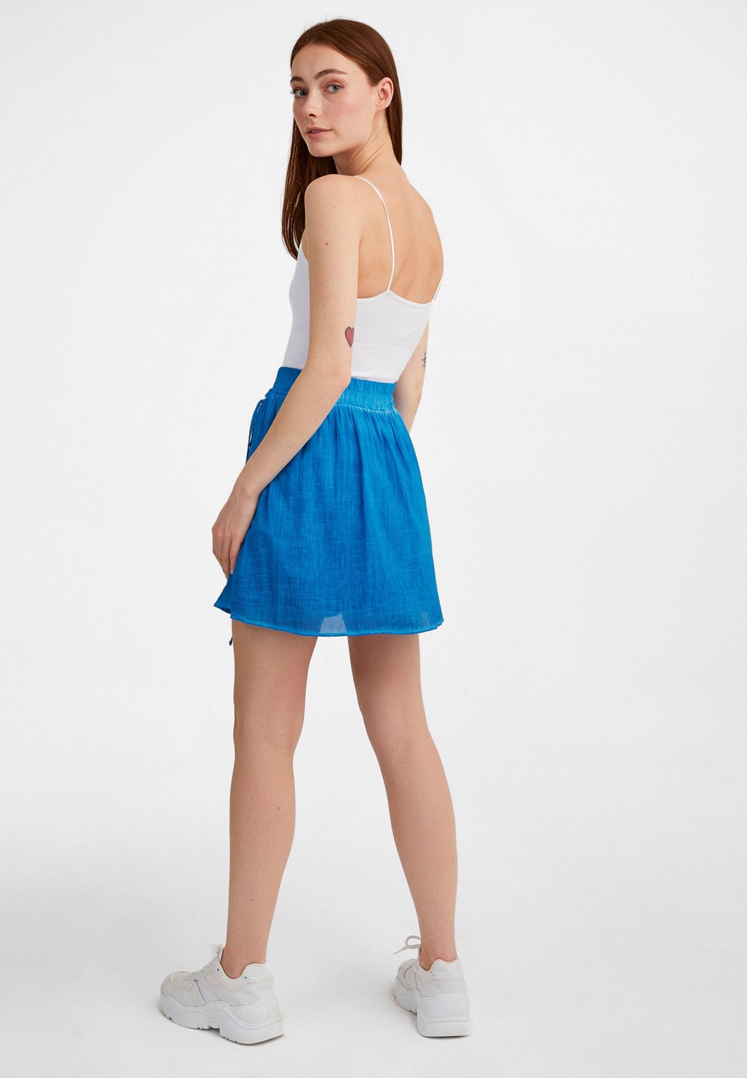 Bayan Mavi Bağcık Detaylı Mini Etek