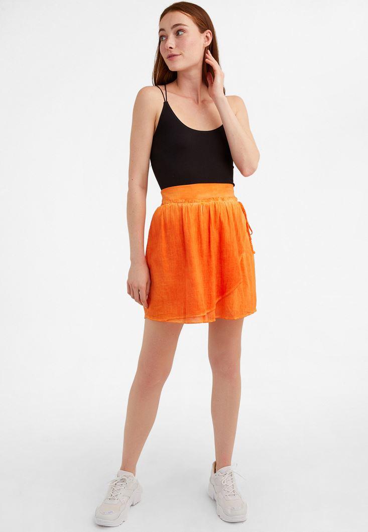 Orange Elastic Waisted Mini Skirt