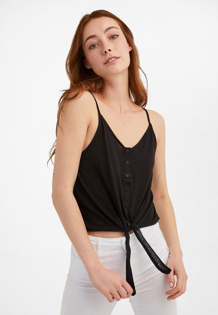 Black V-Neck Top with Tie Detail