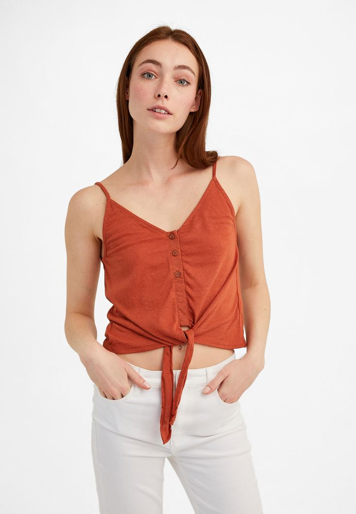 Brown V-Neck Top with Tie Detail