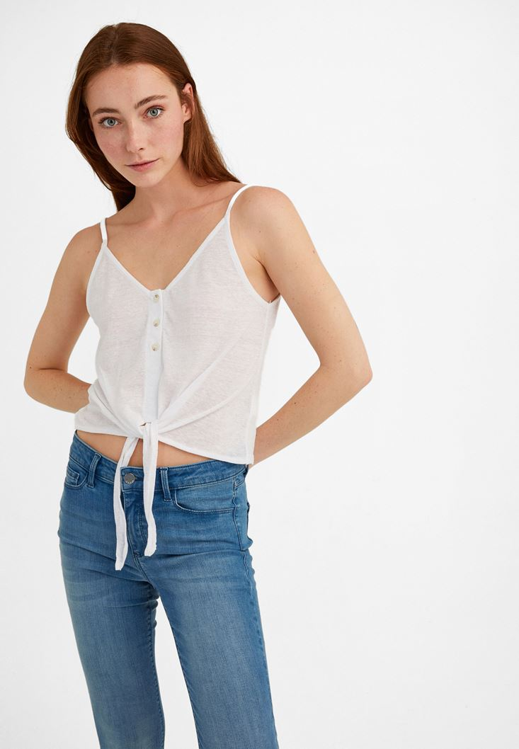 White V-Neck Top with Tie Detail