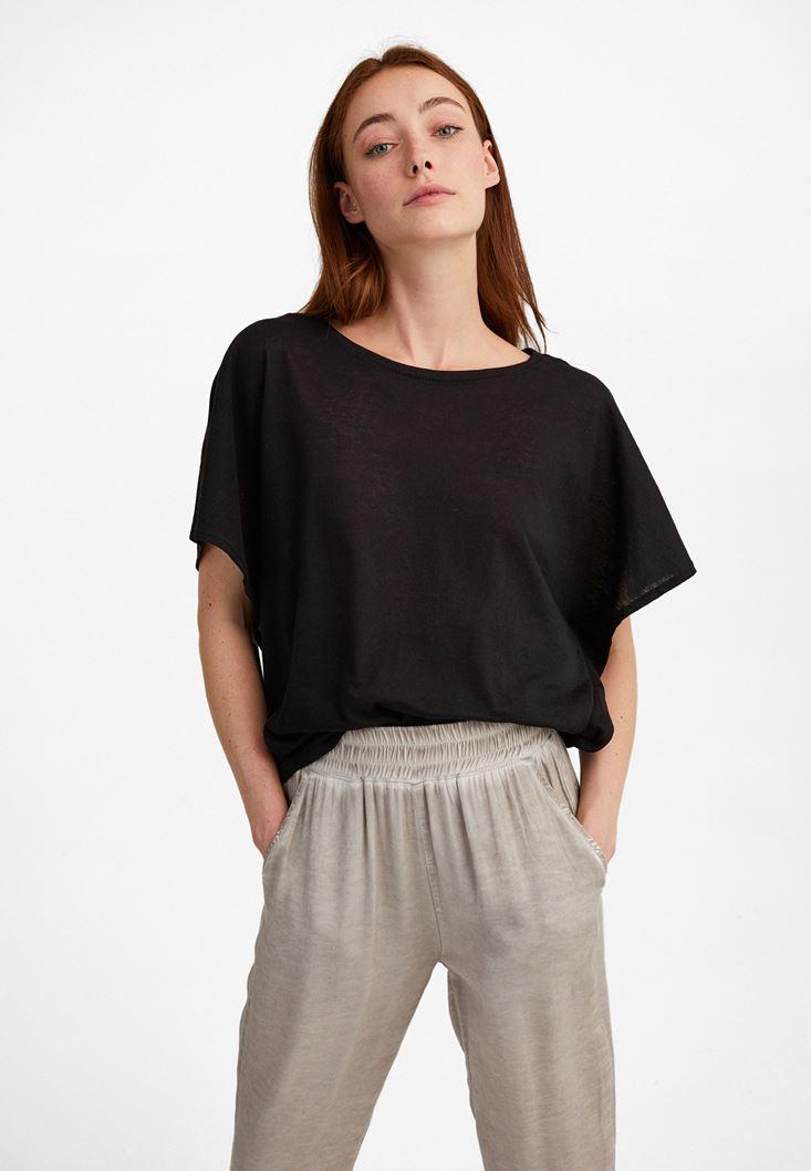 Black Frilled Loose T-shirt