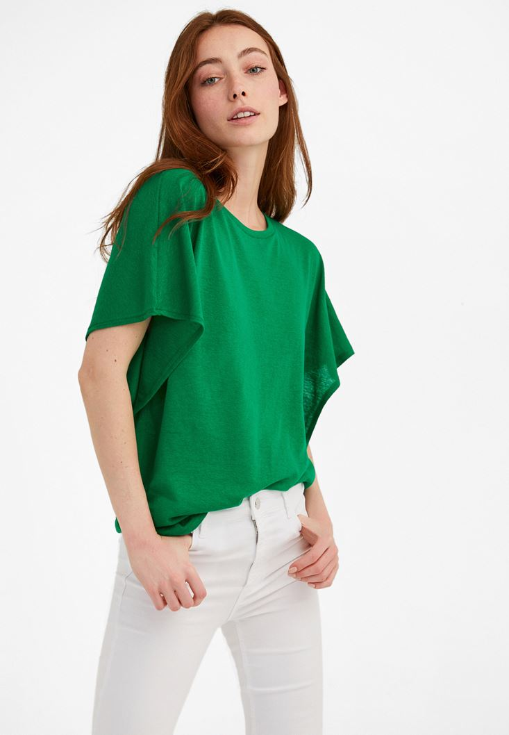 Green Frilled Loose T-shirt