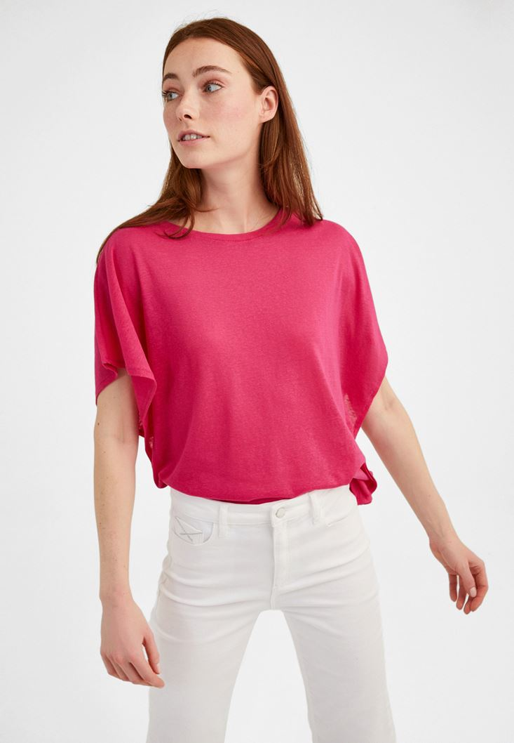 Pink Frilled Loose T-shirt