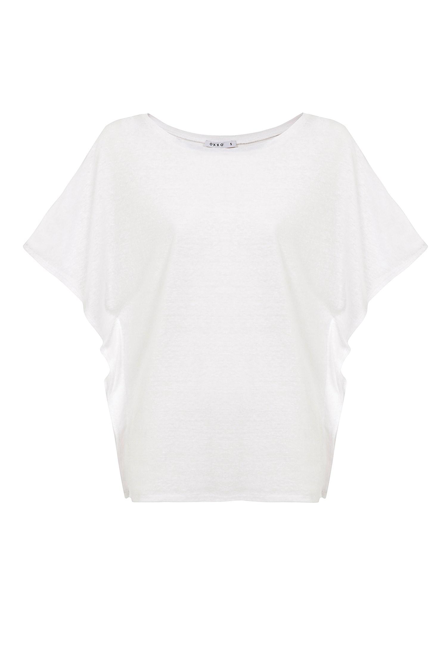 Bayan Beyaz Sıfır Yaka Volanlı Tişört