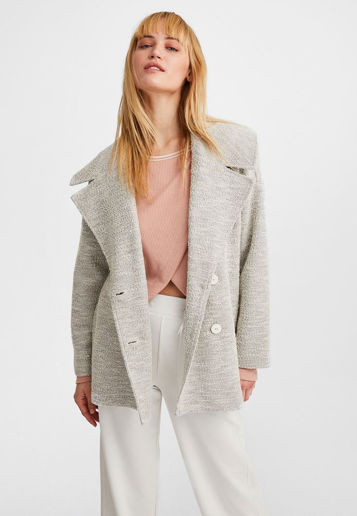 Buttoned Wide-Neck Jacket