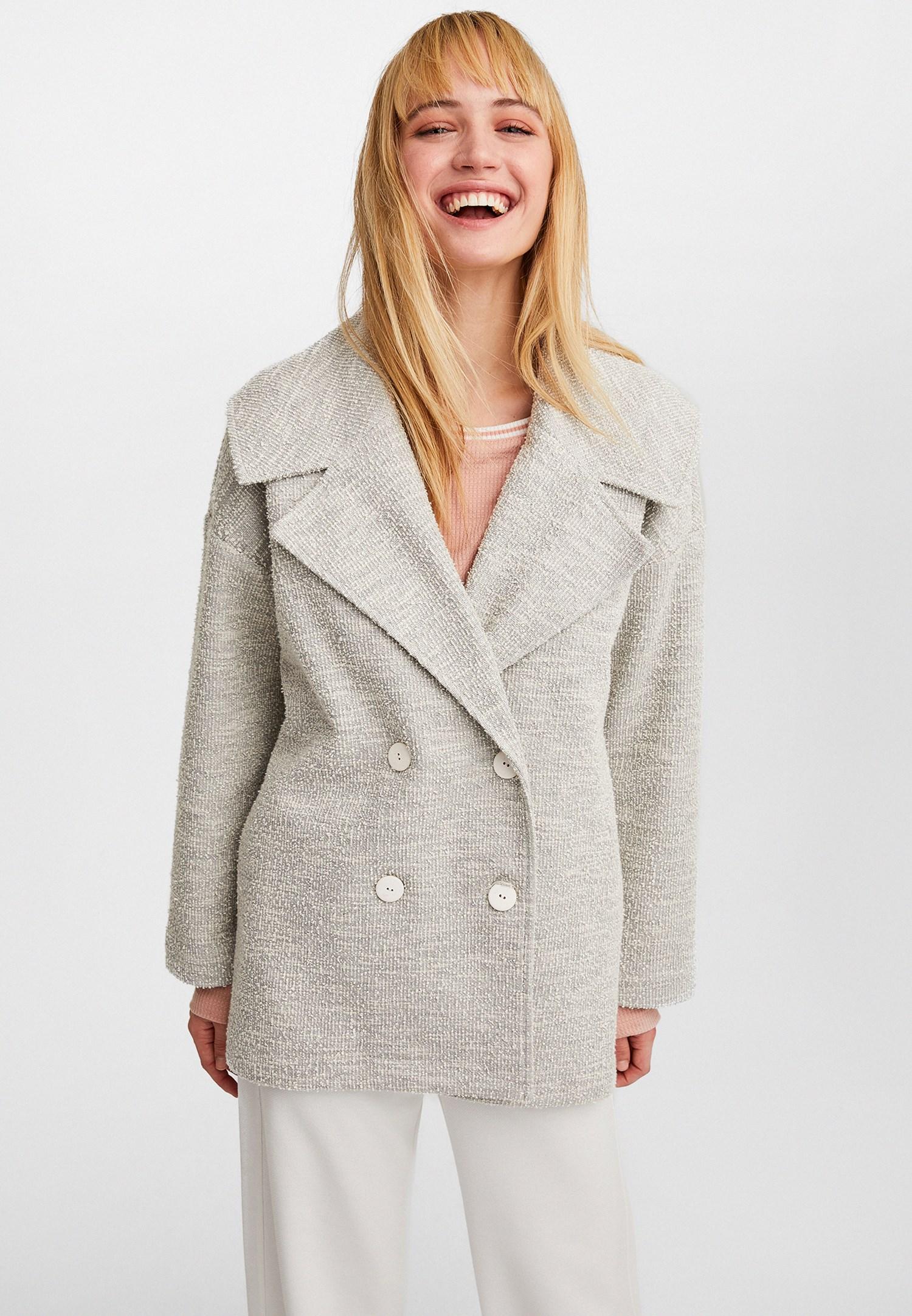 Bayan Gri Geniş Yakalı Çift Düğmeli Ceket