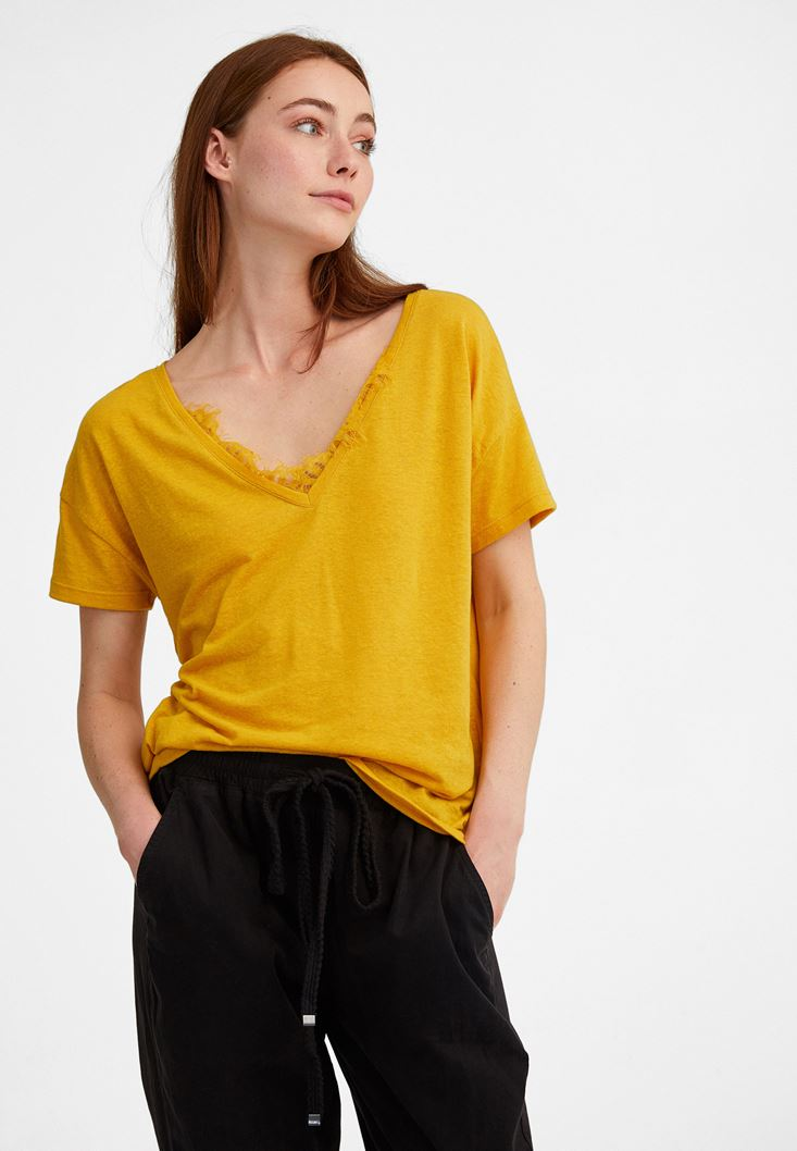 Yellow Lace Detailed T-Shirt