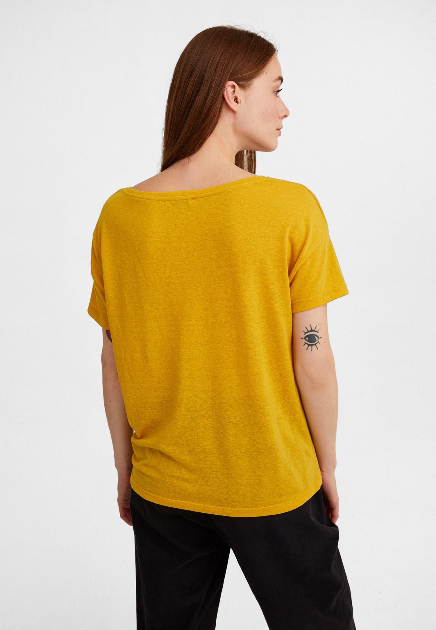 Bayan Sarı V Yaka Dantel Detaylı Tişört