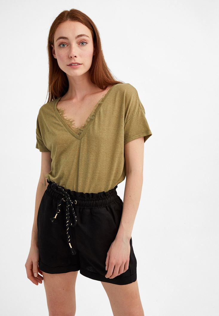 Green Lace Detailed T-Shirt