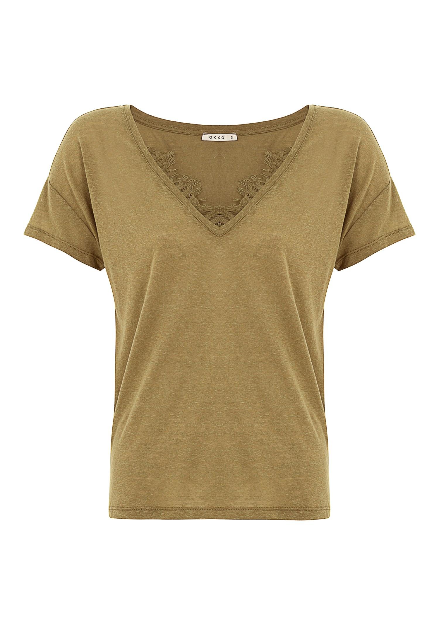 Bayan Yeşil V Yaka Dantel Detaylı Tişört