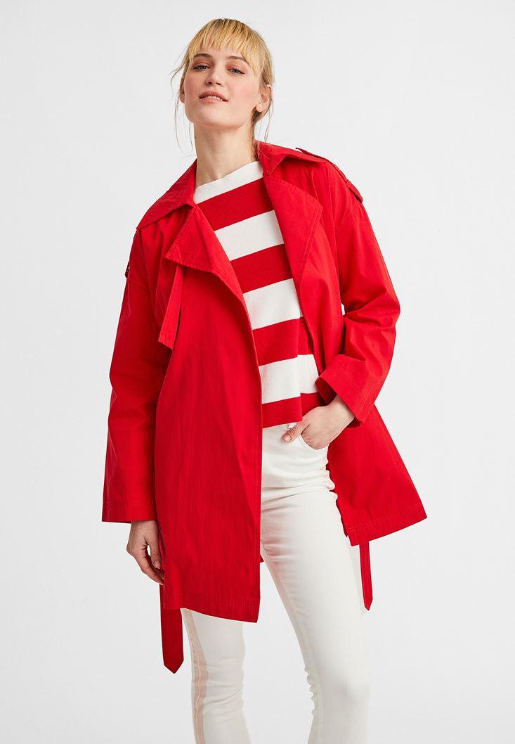 Kırmızı Beli Kemerli Trençkot