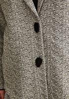 Bayan Siyah Düğme Detaylı Uzun Ceket