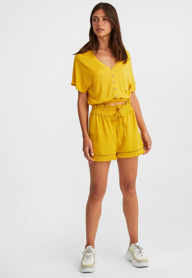 Yellow Belted Shorts with Fringe