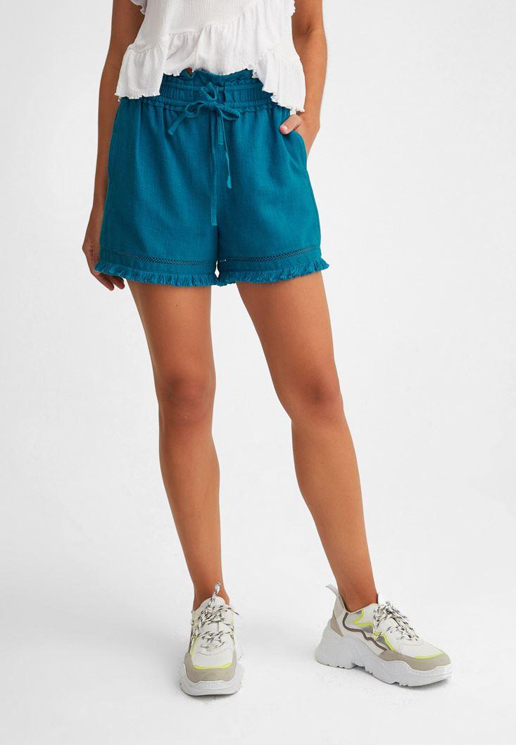 Blue Belted Shorts with Fringe