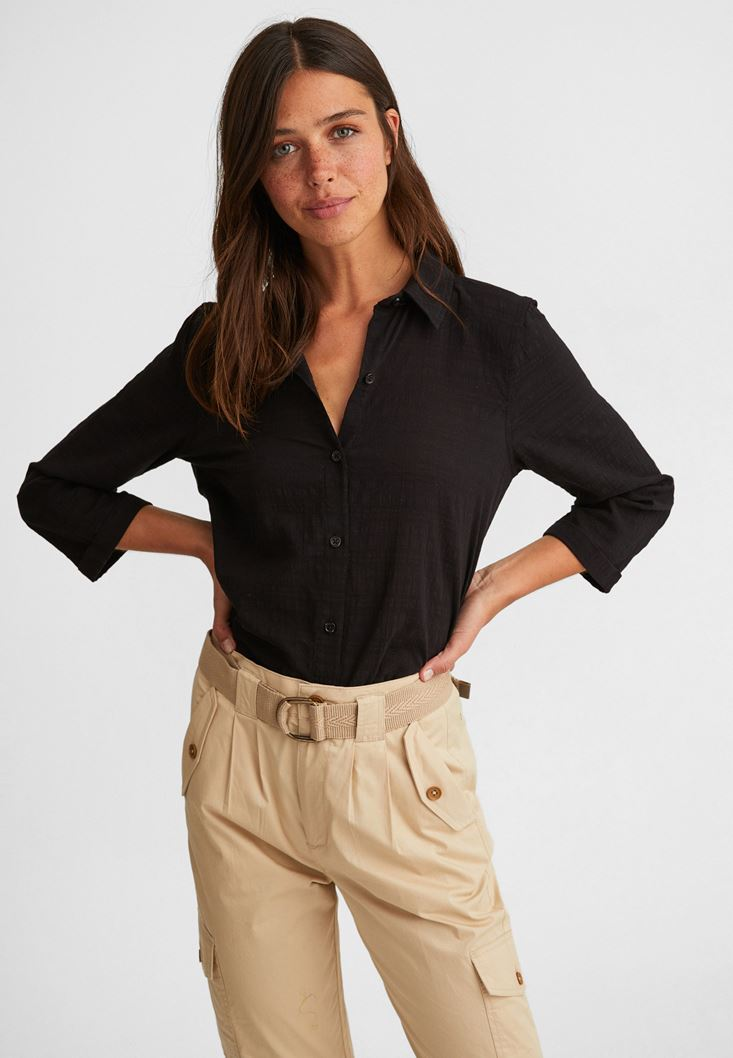 Black Cotton Shirt with 3/4 Sleeve