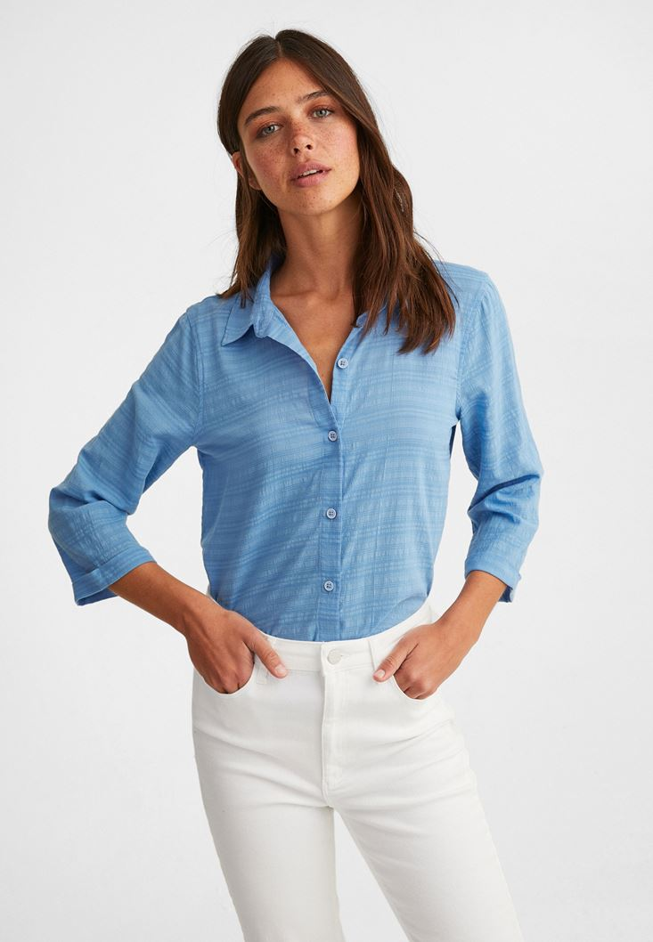 Blue Cotton Shirt with 3/4 Sleeve