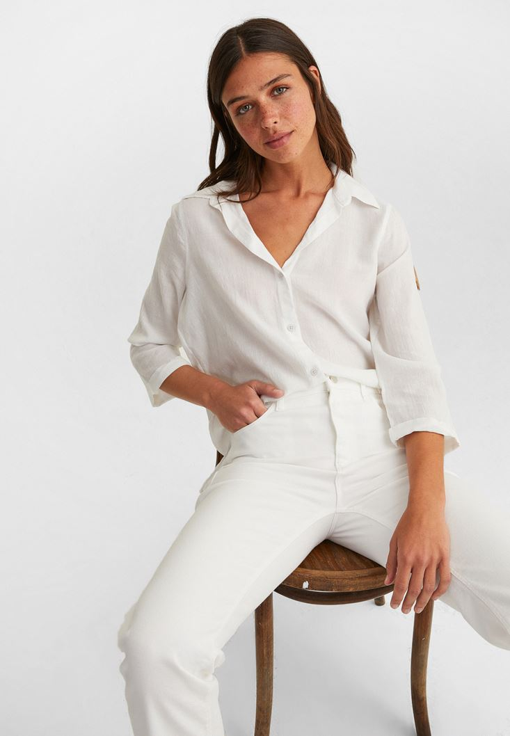 White Cotton Shirt with 3/4 Sleeve