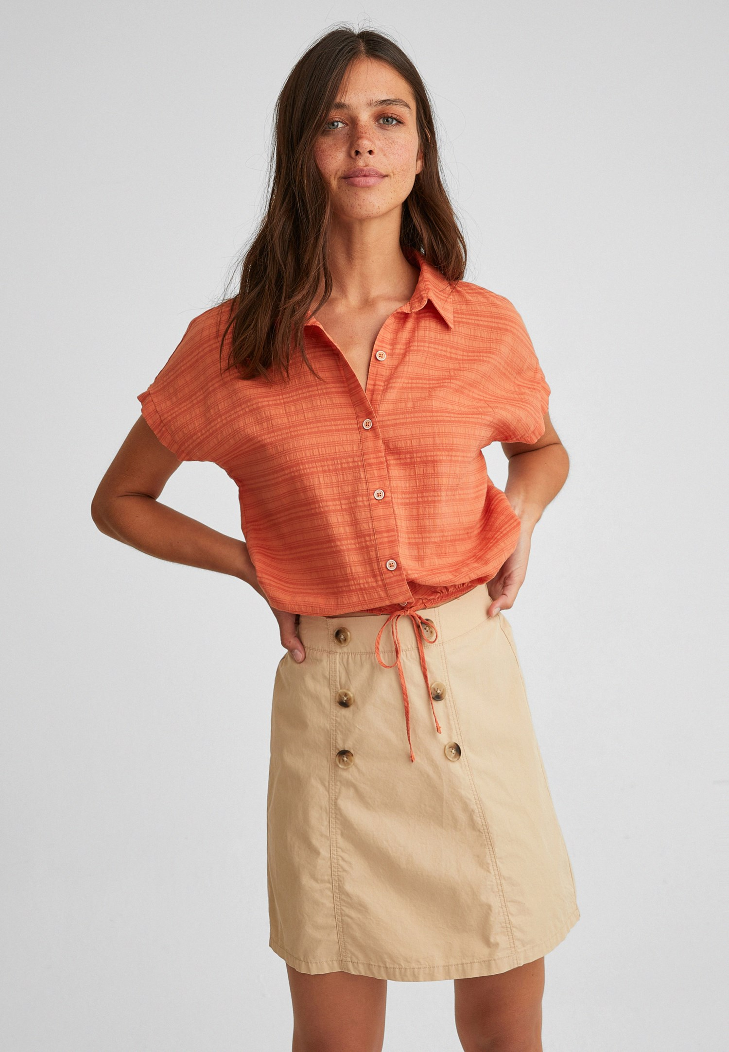 Bayan Turuncu Beli Bağlamalı Crop Gömlek