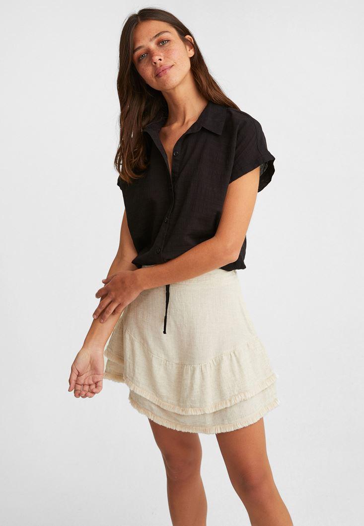 Black Crop Shirt with Drawstrings