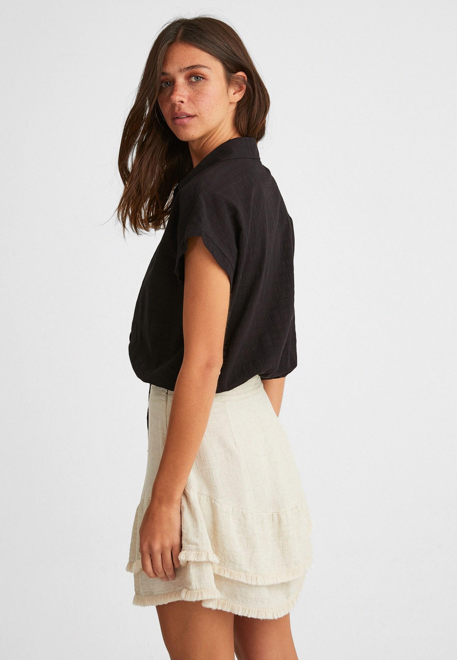 Bayan Siyah Beli Bağlamalı Crop Gömlek