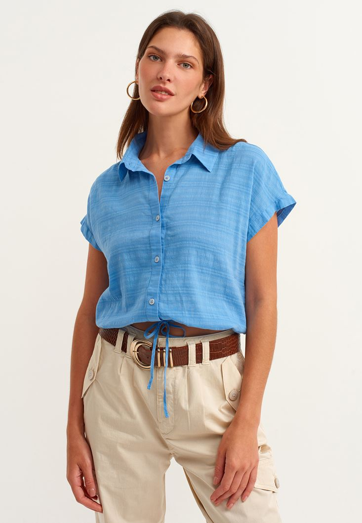 Blue Crop Shirt with Drawstrings