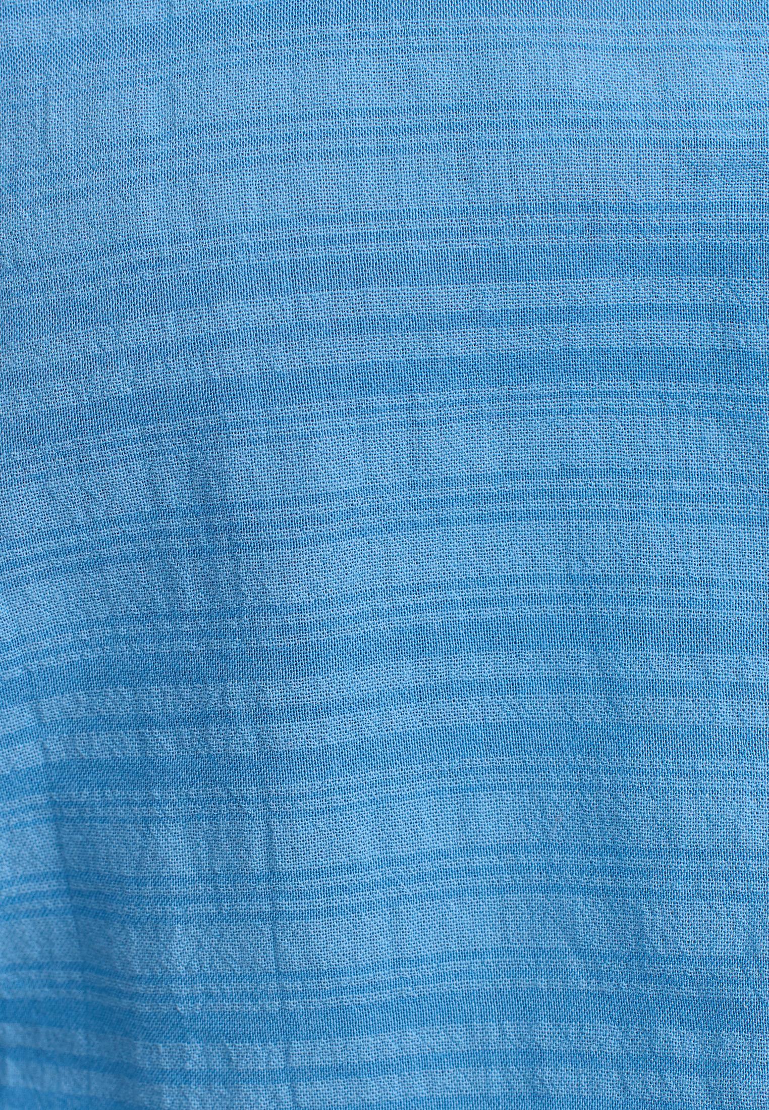 Bayan Mavi Beli Bağlamalı Crop Gömlek