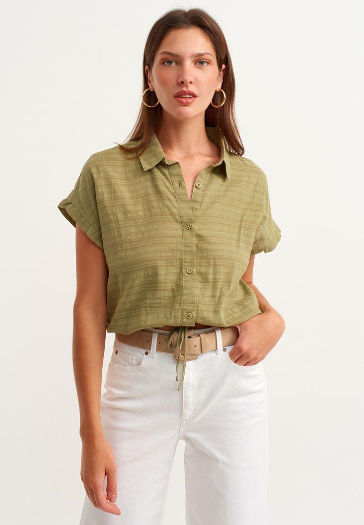 Yeşil Beli Bağlamalı Crop Gömlek