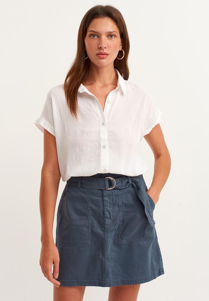 Beyaz Beli Bağlamalı Crop Gömlek