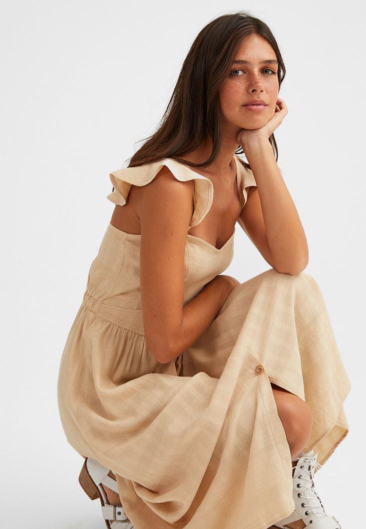 Krem Düğmeli Midi Elbise