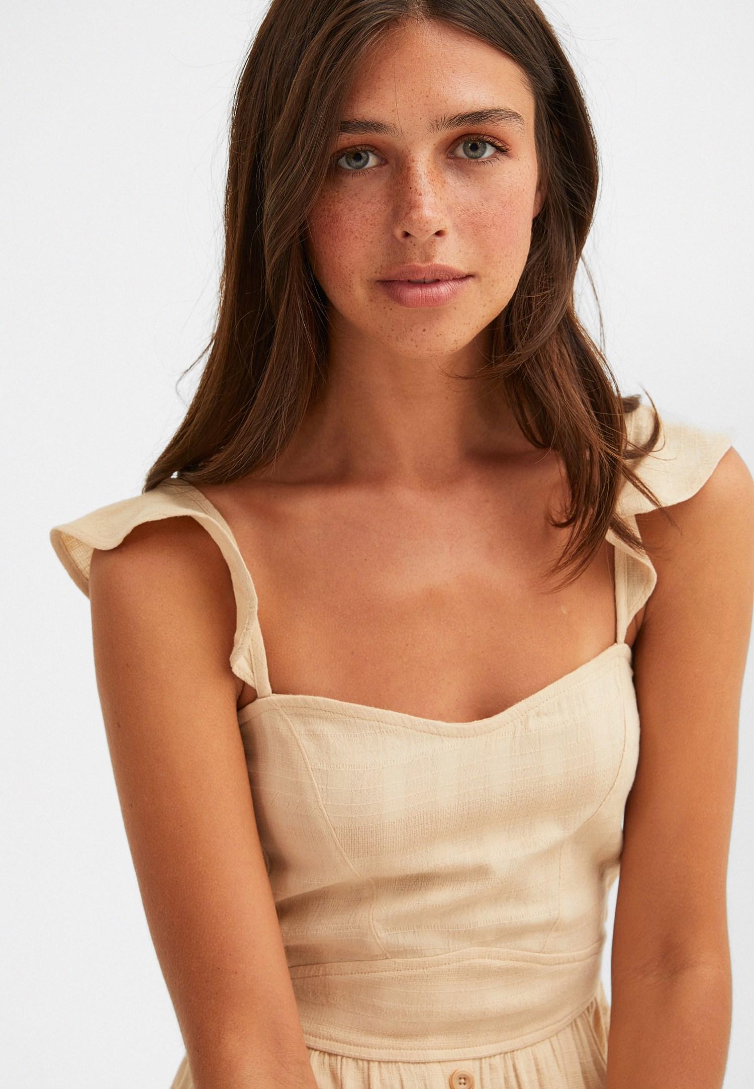 Bayan Krem Düğmeli Midi Elbise