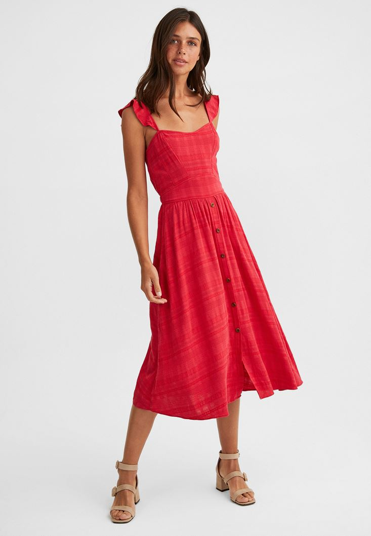 Kırmızı Düğmeli Midi Elbise