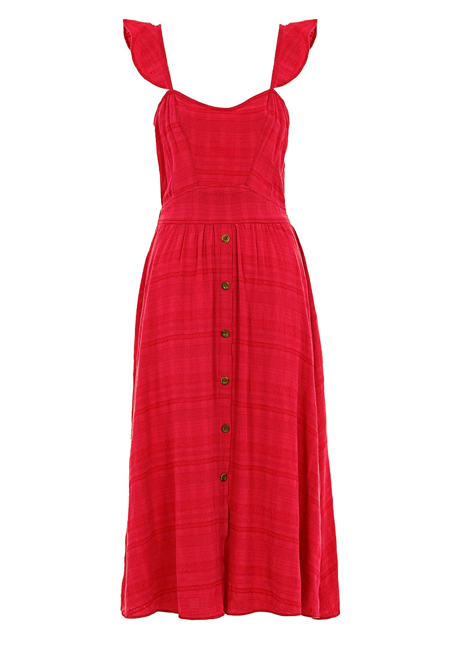 Bayan Kırmızı Düğmeli Midi Elbise