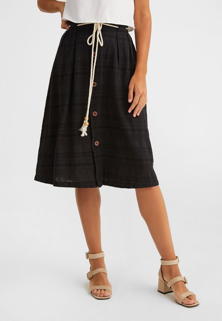 Black Buttoned Midi Skirt