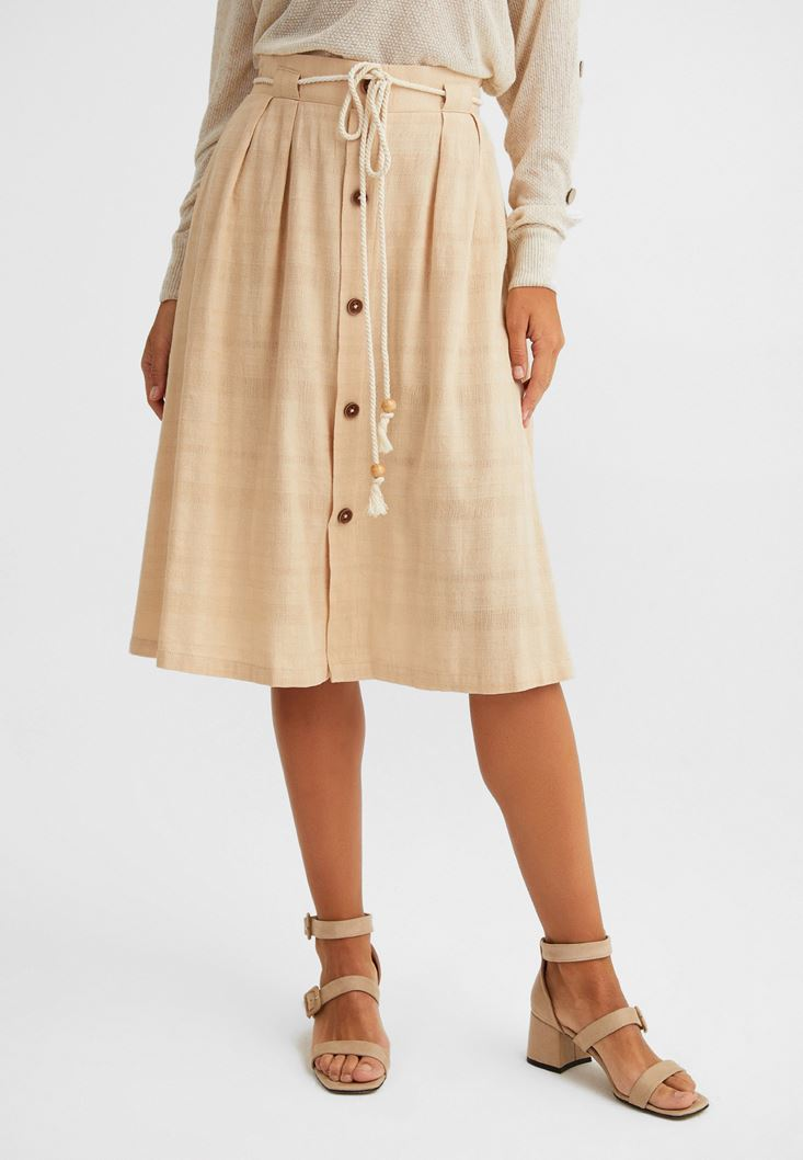 Cream Buttoned Midi Skirt
