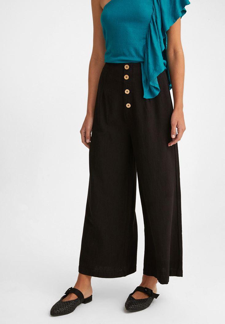 Siyah Düğme Detaylı Yüksek Bel Pantolon