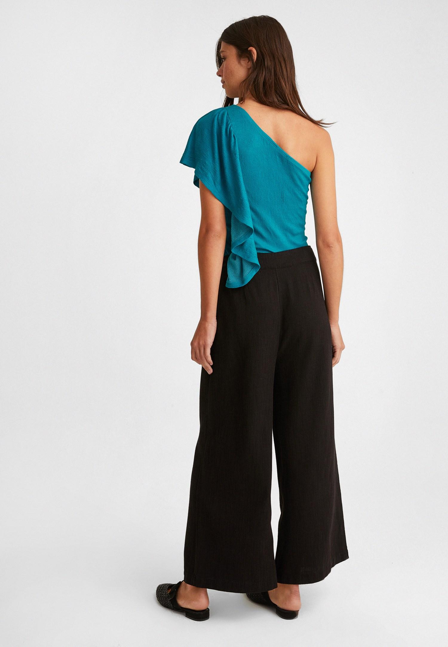 Bayan Siyah Düğme Detaylı Yüksek Bel Pantolon