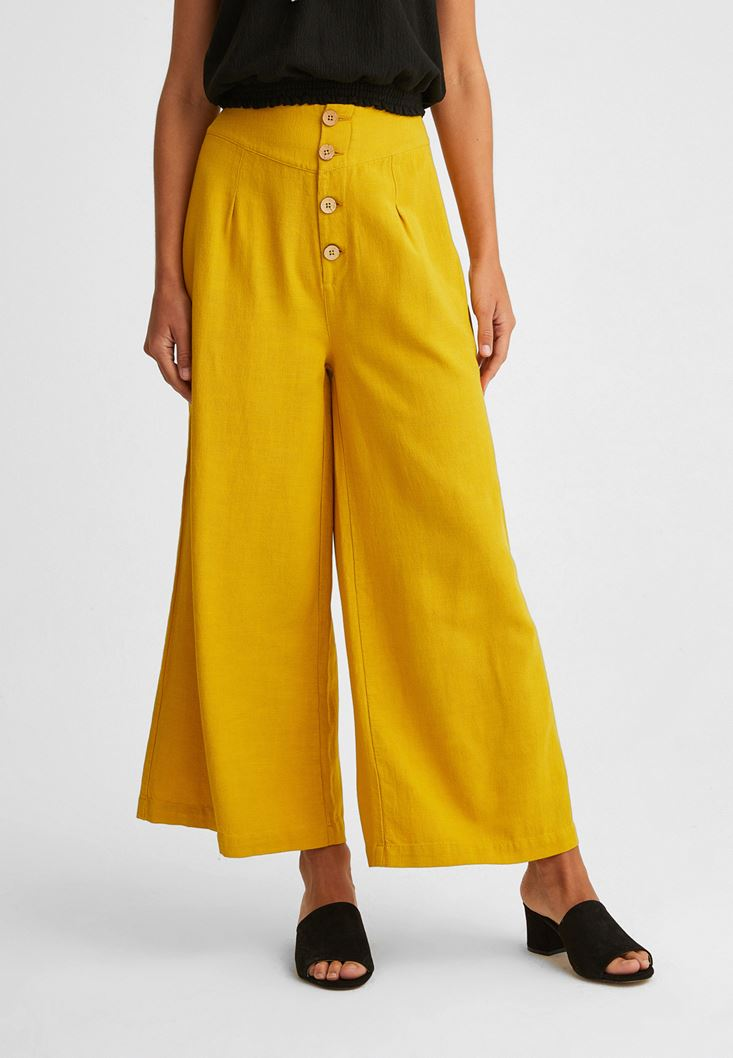 Yellow Buttoned Wide Trousers
