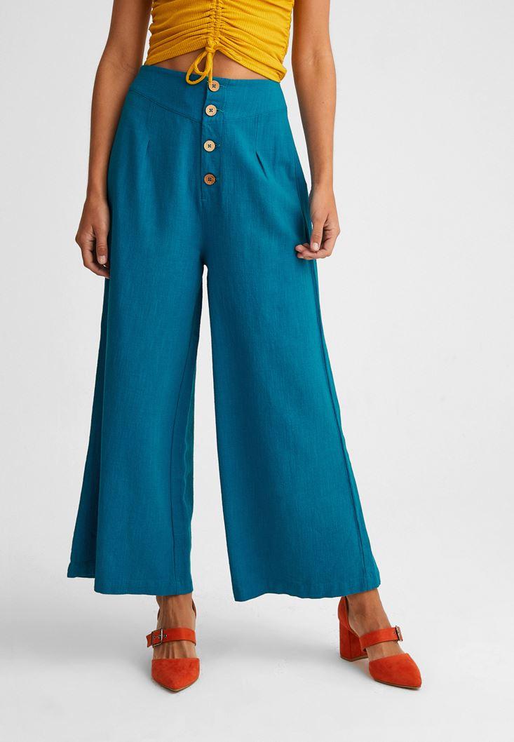 Mavi Düğme Detaylı Yüksek Bel Pantolon
