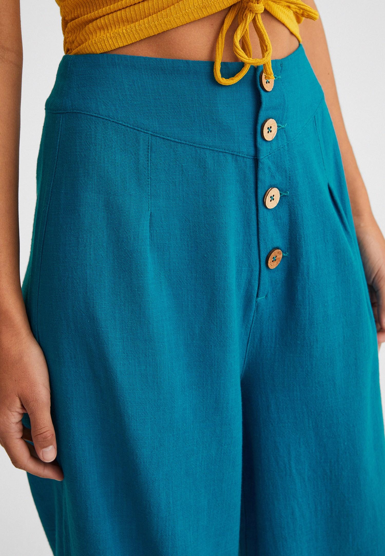 Bayan Mavi Düğme Detaylı Yüksek Bel Pantolon