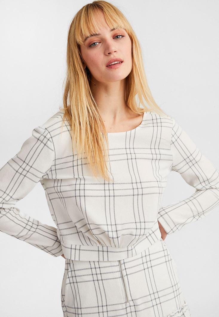 Krem Uzun Kollu Crop Bluz