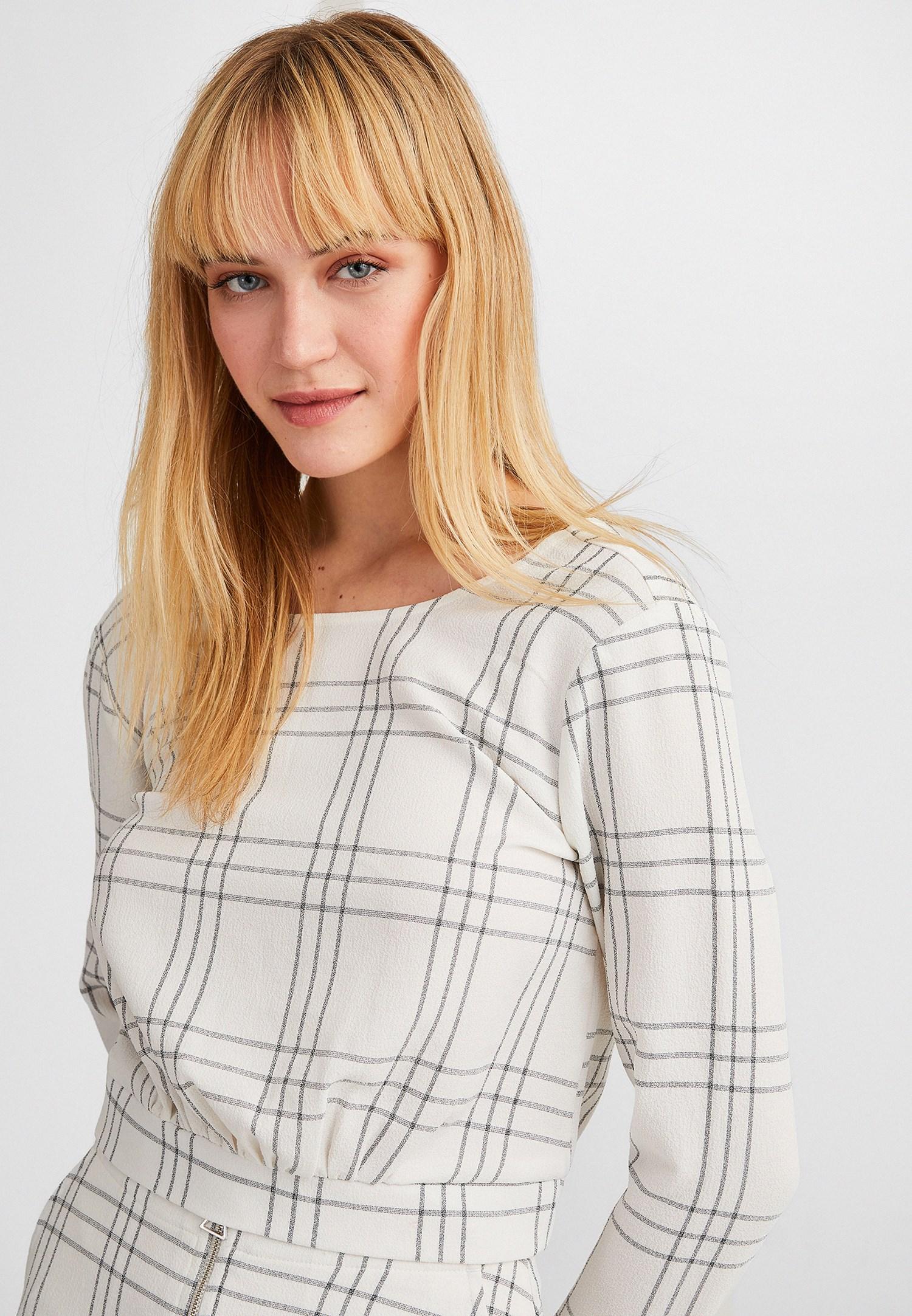 Bayan Krem Uzun Kollu Crop Bluz