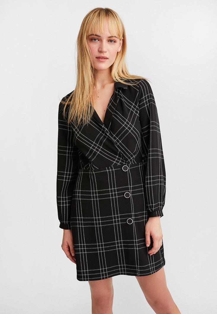 Siyah Kruvaze Yaka Mini Elbise