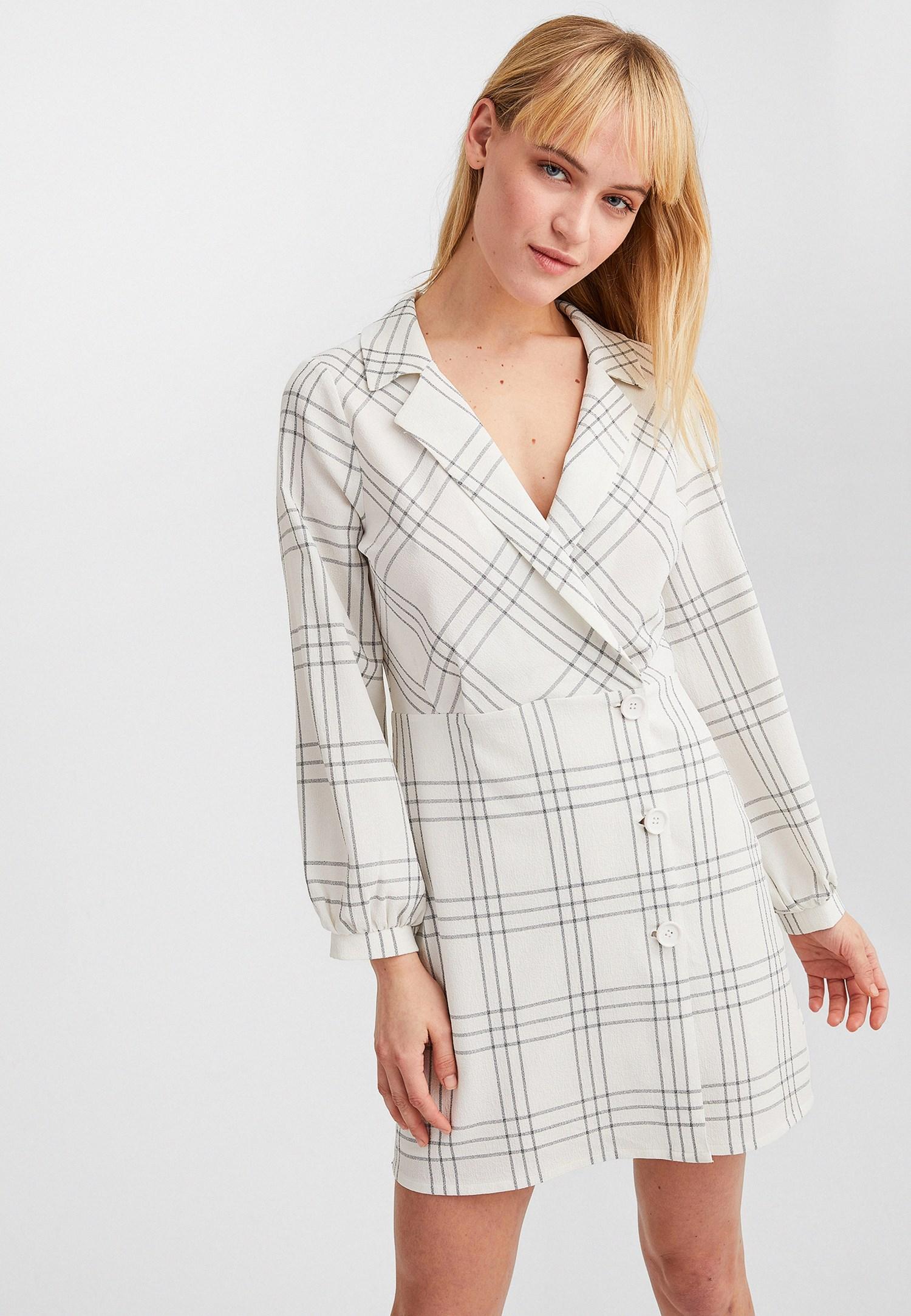 Bayan Krem Kruvaze Yaka Mini Elbise