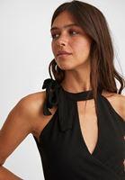 Women Black Halter-Neck Crop Top